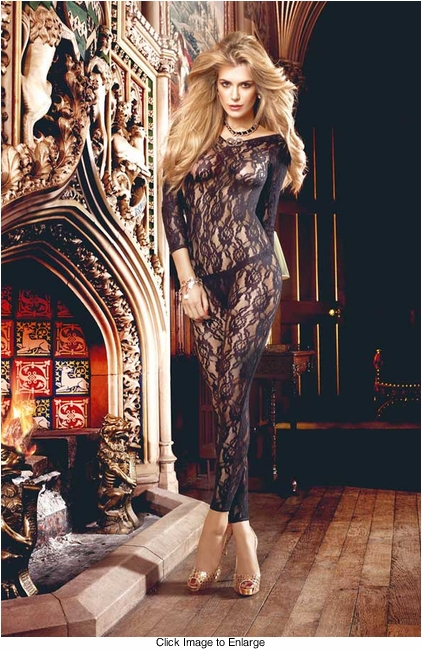 Long Sleeve Floral Lace Bodystocking with Deep V Back