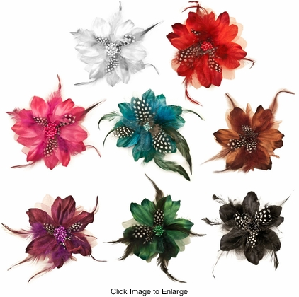"4"" Chiffon and Feathers Flower Hair Clip"