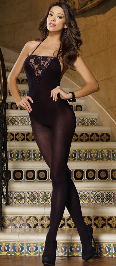 Opaque Halter Bodystocking with Lace Inset (Plus Size Available)