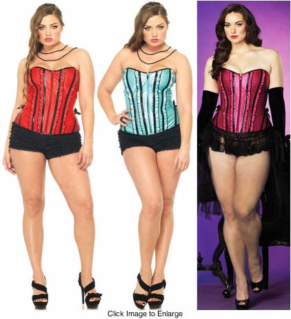 Plus Size Betty Corset with Vinyl Piping