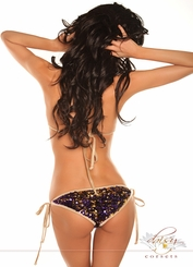 Purple & Gold Confetti Sequin Pucker Back Bikini