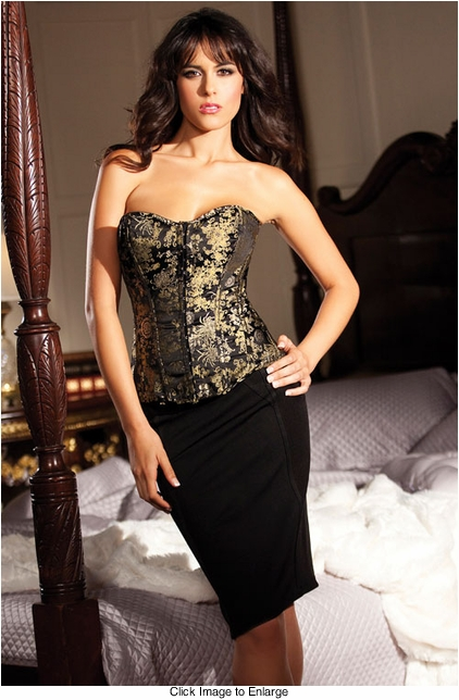 Mystique Brocade Corset with Lace-Up Back (available up to size 38)
