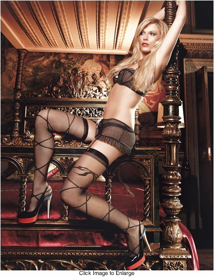 Sheer Pantyhose with Wrap and Bow Design