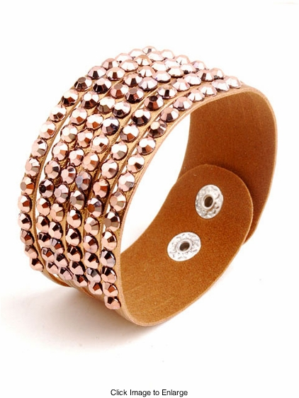 Jeweled Faux Leather Bracelet