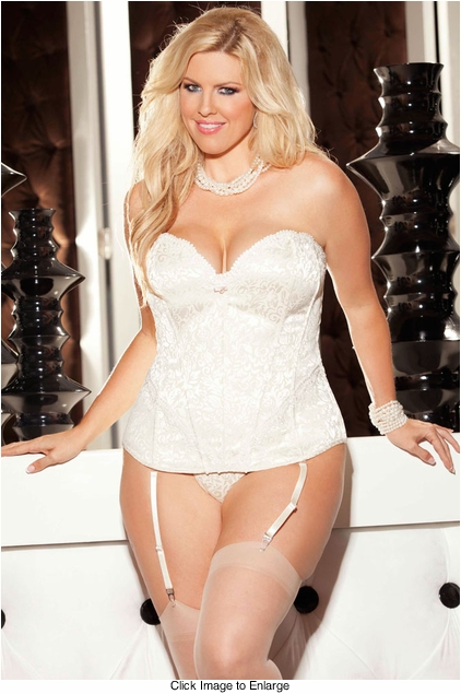 Plus Size Ivory Tapestry Corset with G-string