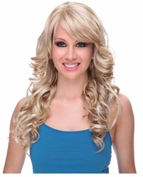 Tousled Curls Wig with Side Swept Bangs