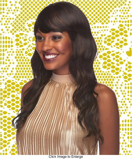Heat Friendly Tousled Water Wave Long Hair Wig with Face Framing Bangs