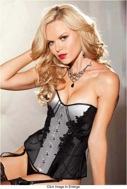 Satin Tuxedo Corset with Beads