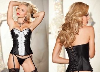 Satin Tuxedo Corset with Beads (available up to size 38)