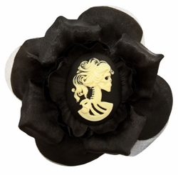 "3.5"" Silky Flower Hair Clip with Coiffed Zombie Cameo"