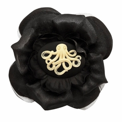 "3.5"" Silky Flower Hair Clip with Great Octopus Cameo"