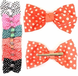 "Retro Large 6"" Wide Polka Dot Hair Bow Clip"