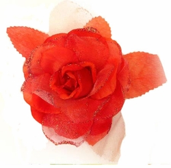 "6"" Rose Flower Hair Clip with Glitter Accents"