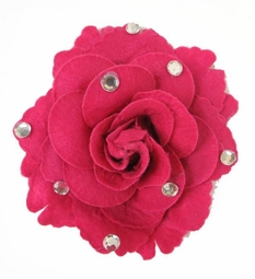 "4.5"" Felt Flower Hair Clip with Crystals"