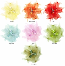 "4"" Tulle and Crystal Hair Clip (available in 7 colors)"