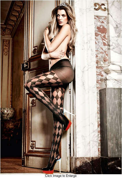 Sheer Diamond Harlequin  Pantyhose