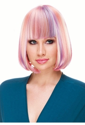 Deluxe Bob Wig in Lilac, Light Pink and White for $19.99