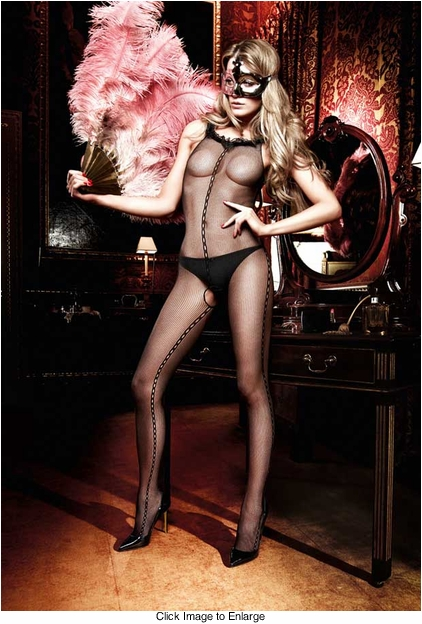 Fishnet Bodystocking with Infinity Design and Ruffle Trim