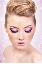 Black False Lashes with Purple Crystals