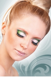 Jeweled Black False Eyelashes with Green Crystals