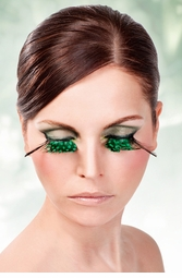 Green Feather Lashes with Long Dark Purple Wisps