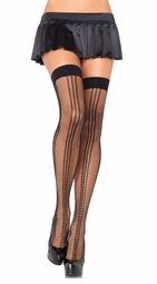 Striped Fishnet Thigh Highs
