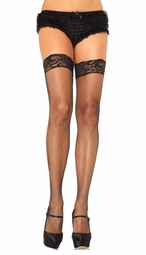 Stay Up Lace Top Fishnet Thigh High Stockings