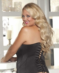 Plus Size Satin Tuxedo Corset with Beads