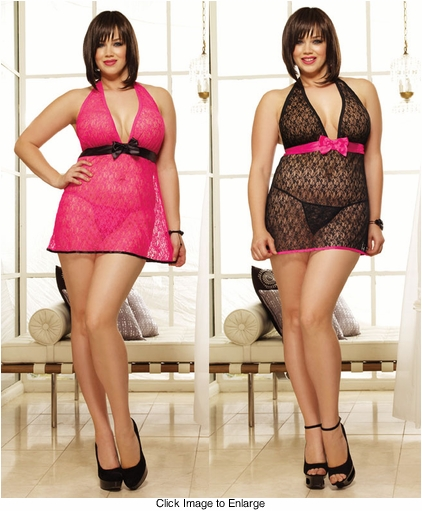Sexy Plus Size Stretch Lace Halter Babydoll and Thong