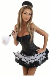 Corset  French Maid Costume with Petticoat, Hat and Feather Duster