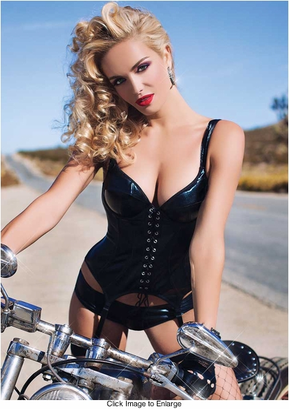 Wet Look Bustier Corset with Boyshorts