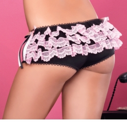 Luxe Black Booty Shorts with Pink Lace Ruffle Back