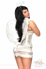 Burlesque Corset Angel Costume with Skirt, Halo and Wings