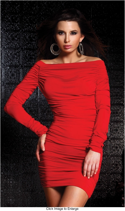 Red Desire Off Shoulder Mini Dress with Ruching