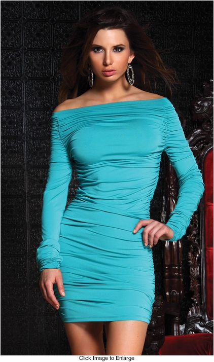 Blue Off Shoulder Mini Dress with Side Ruching