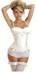 Instant Hourglass Figure Corset in White Satin