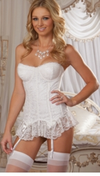 Figure Miracle Bustier, Thong and Stockings  in White or Black