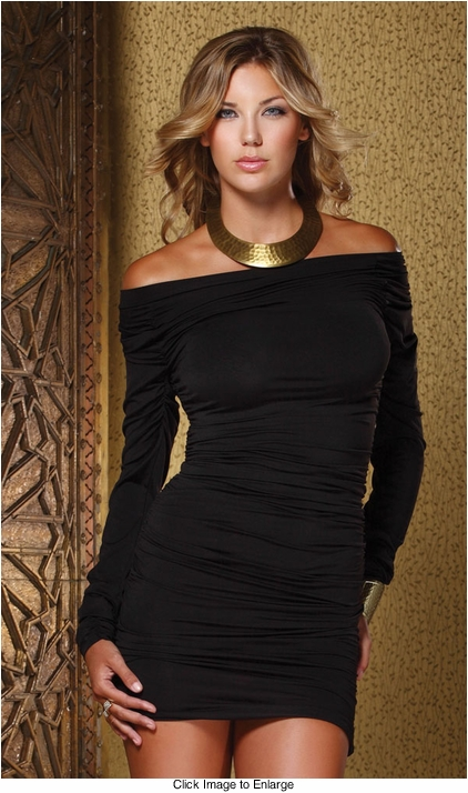 Black Off Shoulder Mini Dress with Ruched Sides