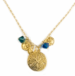 "1"" Gold Tone Sand Dollar Designer Necklace"
