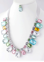 Bold Jewel Necklace with Ribbon Tie and Matching Earrings