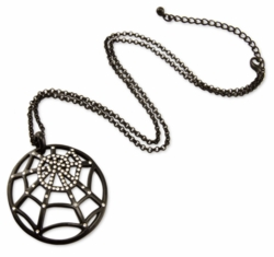 Crystal Spiderweb Black Necklace