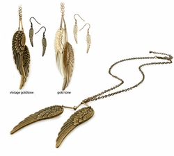 Angel Wing Necklace and Earrings
