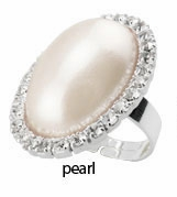 "1.15"" Long Pearl and Crystals Ring"