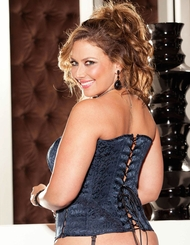 Plus Size Navy Tapestry Corset and G-string