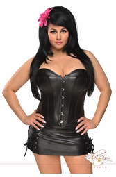 Vegan Leather Black Corset & Skirt Set