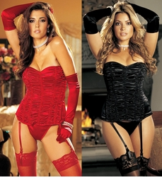 Plus Size Red or Black Gathered Corset and G-string