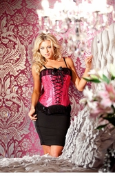 Luxe Fuchsia Pink Satin Corset with Front Lacing and Fringe Trim