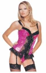 Hot Pink Brocade Corsets with Black Lace