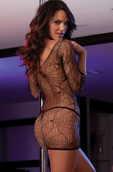 Spider Web Net Mini Dress with Thong
