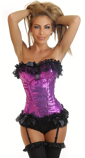 Purple Sequin Corset with Black Lace